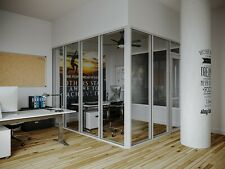 Cgp Glass Aluminum 2 Wall Office Partition System Withdoor 9x6x9 Clear Anodized