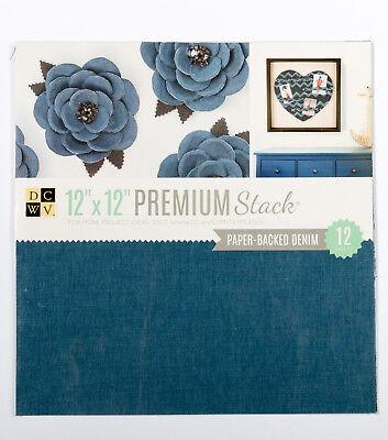 """Bescheiden Dcwv 'paper Pack Denim' 12x12"""" Premium Paper Pad Stack - 12 Sheets Scrapbooking Heilzaam Voor Het Sperma"""