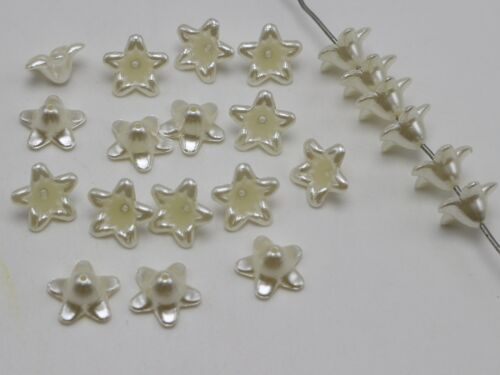 100 Ivoire Acrylique Perle Bead Cap Campanule Bell Fleur perles 12 mm