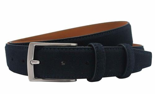 Ground Mind Extra Thickness Suede Leather Belt for Men Silver brush alloy buckle