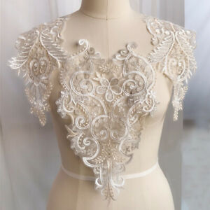 3D-Embroidery-Flower-Bridal-Lace-Applique-pearl-Beaded-Tulle-DIY-Wedding-Dress