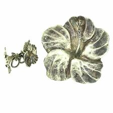 Modernist Ella L. Cone Sterling Silver Flower Brooch Pin & Earrings Set