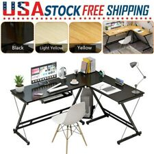 L Shaped Corner Computer Gaming Office Home Desk Laptop Table With Keyboard Tray