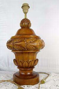 19-5-034-Antique-French-Walnut-Wood-Carved-Light-Lamp-Base-Superb-Wooden