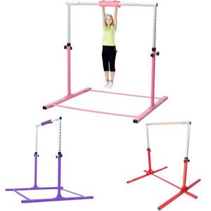 56b58000cac9 Image is loading Adjustable-Gymnastics-High-Bar-Training-Hardwood-Home-Kids-