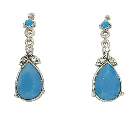 Sweet Romance Pacific bluee Crystal Pear-Shaped Pierced Earrings Made in USA