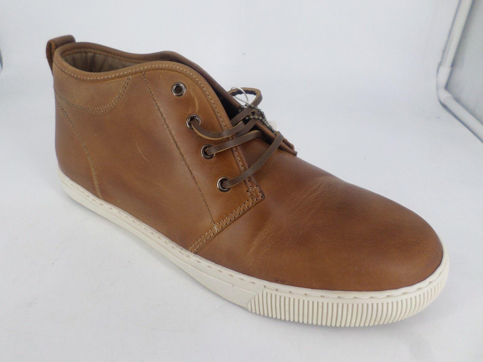 H&M Mens Leather Trainers Hi Top Boots Cognac Brown Eur 44 EM22 64 SALEw