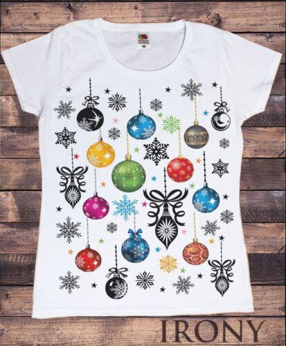 Femme t-shirt Blanc Noël Boules saisonnière Graphique Nouveauté Print TS363