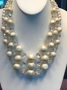 Vintage-1950S-Faceted-Pearl-Aurora-Borealis-Crystal-Three-Strand-Necklace-17-19