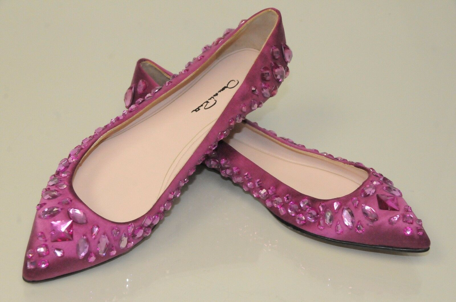 $1050 NEW OSCAR De La RENTA Habi crystal embellished pink satin flats Shoes 39