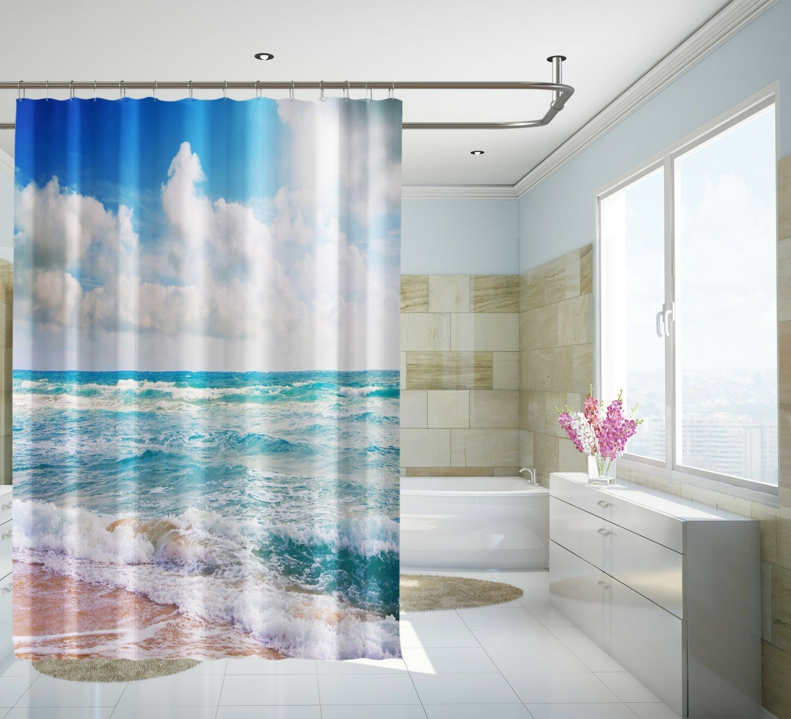 3D Sea Ride Blau 54 Shower Curtain Waterproof Fiber Bathroom Home Windows Toilet