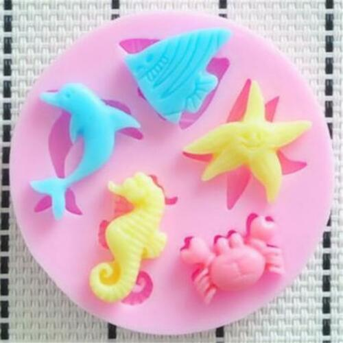3D Dolphin Crab Fairy Fish Seahorse Starfish Silicone Mold Fondant Chocolate LE