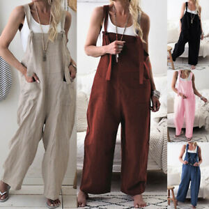 Dungarees-Strap-Overalls-Harem-Trouser-Women-Baggy-Casual-Rompers-Jumpsuit