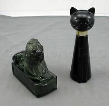 Vintage Avon Cat and Lion Ceramic Glass Perfume Aftershave Decanters - Set of 2