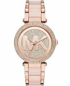 Details about MICHAEL KORS MK6176 Parker Rose Gold Blush Pave Crystal Logo Ladies Watch