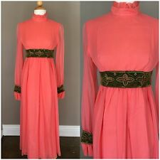 Vintage 1960s Emma Domb Dress Maxi Sheer Long Sleeve Coral Party Formal Mod