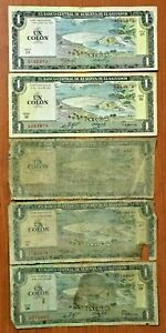 EL SALVADOR SET OF TWO GENERATIONS OF DESIGN 5 AND 1 COLON 1980 AND 1998
