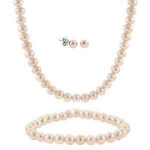 .925 Silver & Pink Pearl Necklace Bracelet Earrings Set