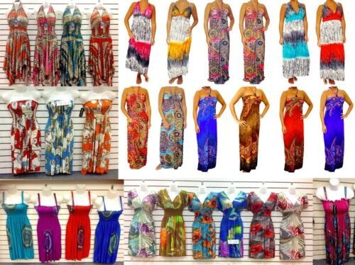 WHOLESALE LOT 40 Dresses BOHO HIPPIE SUMMER SUN DRESS SIZE CASUAL CLUB S M L XL