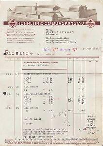 BURGKUNSTADT, Rechnung 1937, Schuh-Fabrik Hühnlein & Co.