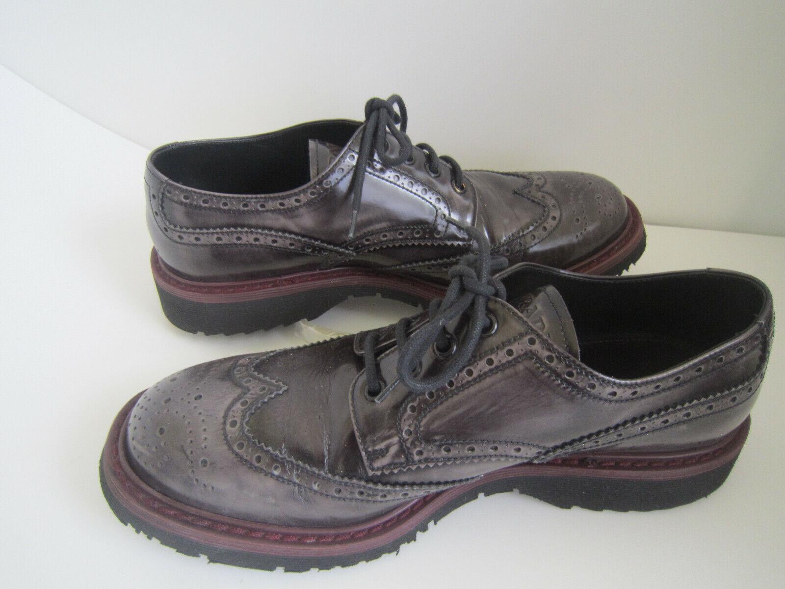 Prada Aubergine burgundy Patent Leather Brogue Platform Oxfords Sz US 9.5