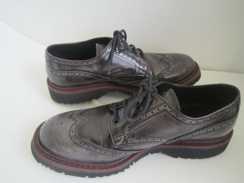 Prada Aubergine/burgundy Patent Leather Brogue Pla
