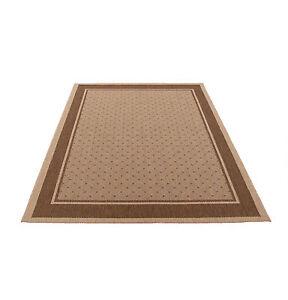Flachgewebe Flachflor Outdoor Teppich Modern beige braun Bordüre ...