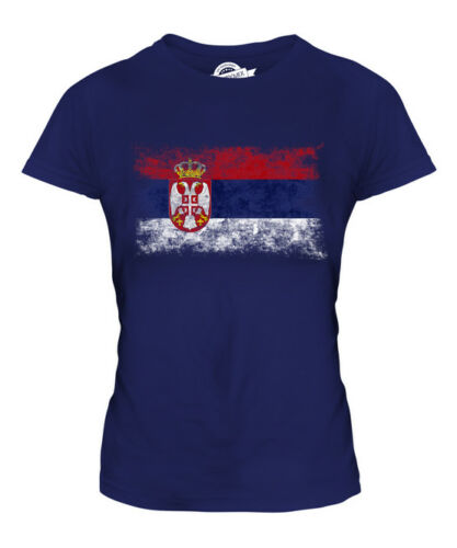 SERBIA DISTRESSED FLAG LADIES T-SHIRT TOP SRBIJA SERBIAN SHIRT FOOTBALL