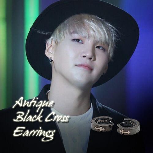 Bts Suga Black Coating Earrings Kpop Style Hot Item Made In Korea 1pair