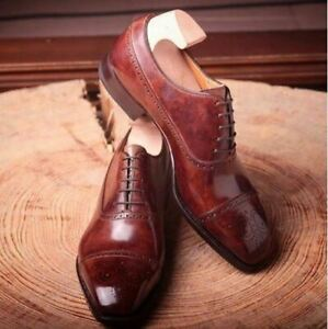 Handmade-Men-039-s-Burgundy-Two-Tone-Brogues-Lace-Up-Cap-Toe-Dress-Formal-Shoes