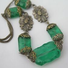 Vintage Art Deco French Pate de Verre Green Glass Flower Necklace
