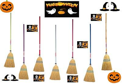 Temperato Streghe Colorato Spazzola Scopa Strega Halloween Dolcetto O Scherzetto Party Costume-