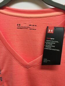 Under-Armour-Womens-Heat-Gear-Athletic-Top-Sport-Gym-V-Neck-Shirt-Semi-Fitted-M