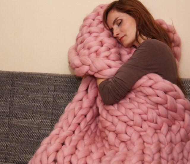 NEW Arm Hand Knitted Chunky BLANKET Throw Merino Wool Yarn Soft Super Big Bulky
