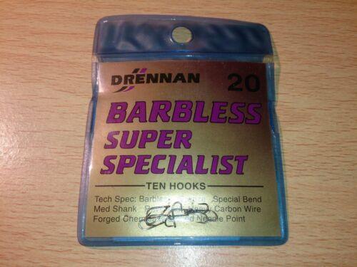 Size 20 Drennan Super Specialist Barbless Eyed Hooks Packet of 10 hooks