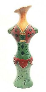 "Lady Torso Vase Decor Victorian Dress Figurine Deep Green & Red 14"" Tall"