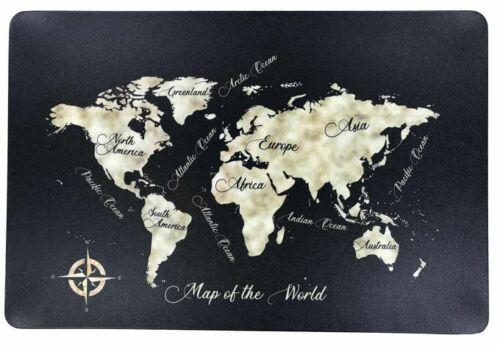 Schreibtischunterlage Map of the World schwarz Landkarte 40 x 60 cm abwischbar