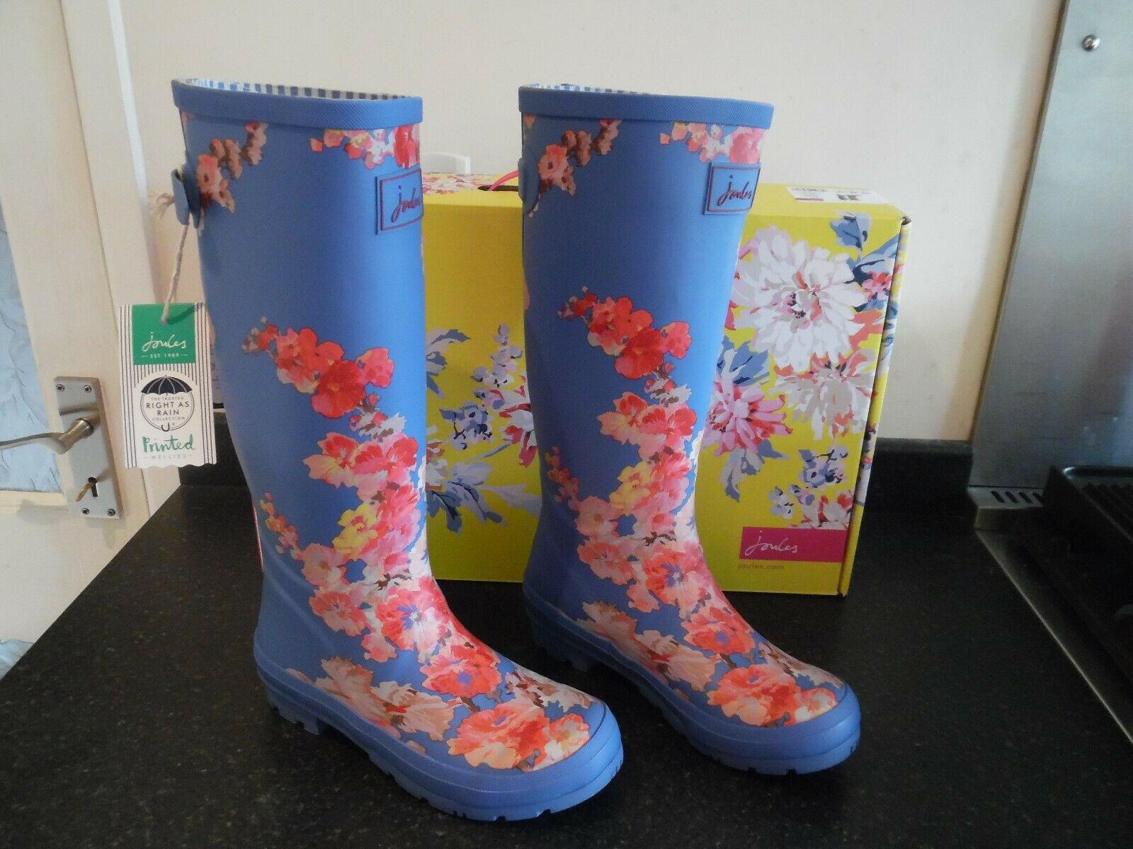 Joules bluee and Pink Floral Welly Wellington Boots - Size 5 -  New Boxed