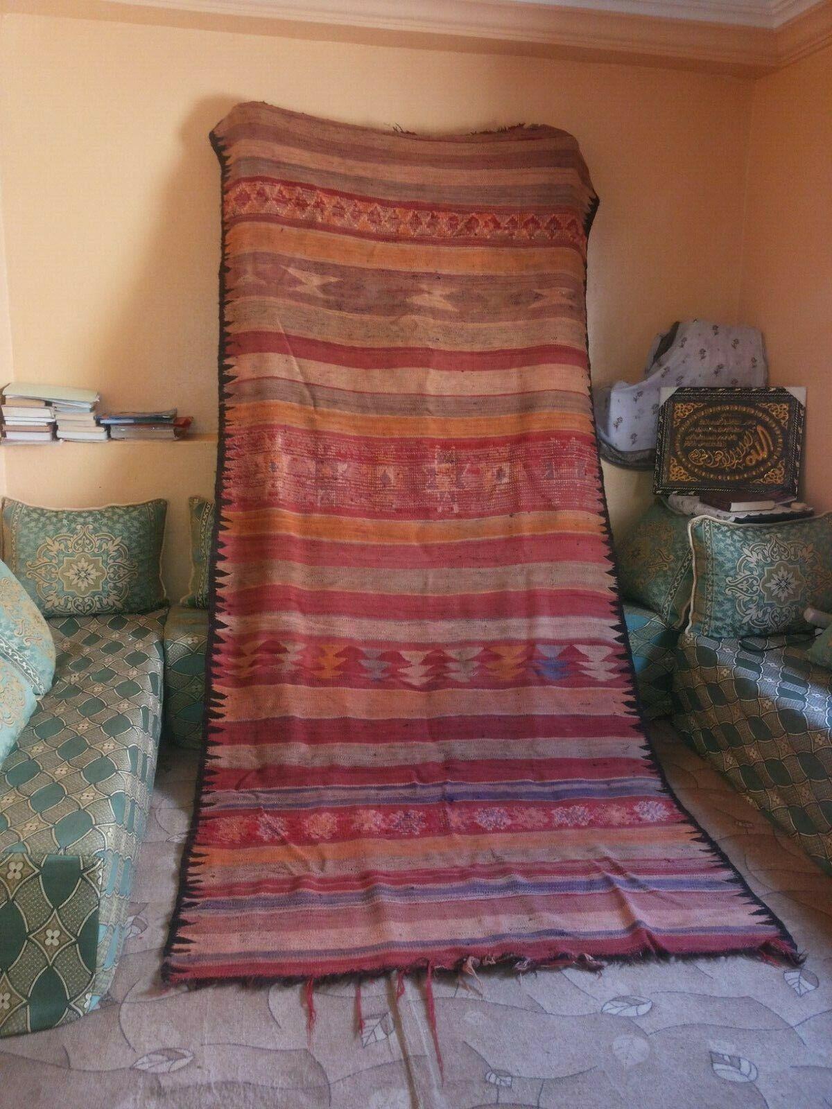 Marruecos Vintage Antiguo bereber tribal 1960 Muy Antigua Alfombra marroquí de lana hecho a mano