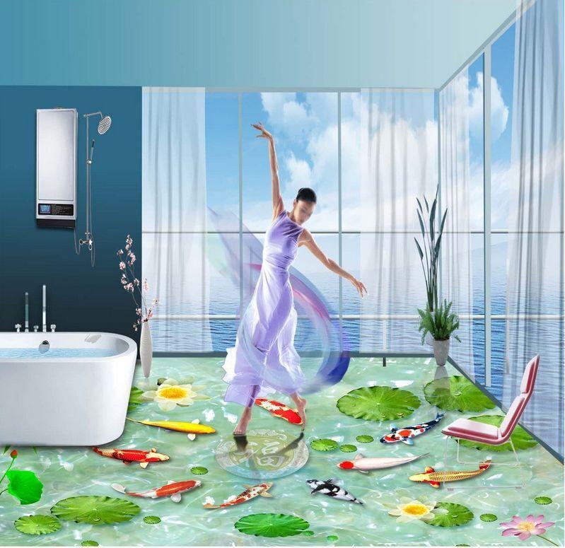 3D fish Lotus Pond 466 Floor WallPaper Murals Wall Print Decal 5D AJ WALLPAPER