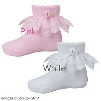 2 Pairs Girls Baby Kids Frilly Lace Cotton Socks Christening Wedding 1-10Y White
