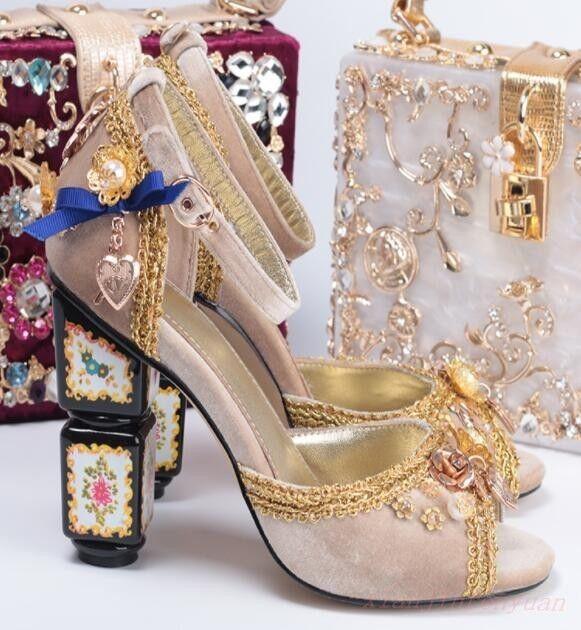 Party Women Open Toe Beautiful Rhinestone Pearl Block High Heel Sandals shoes