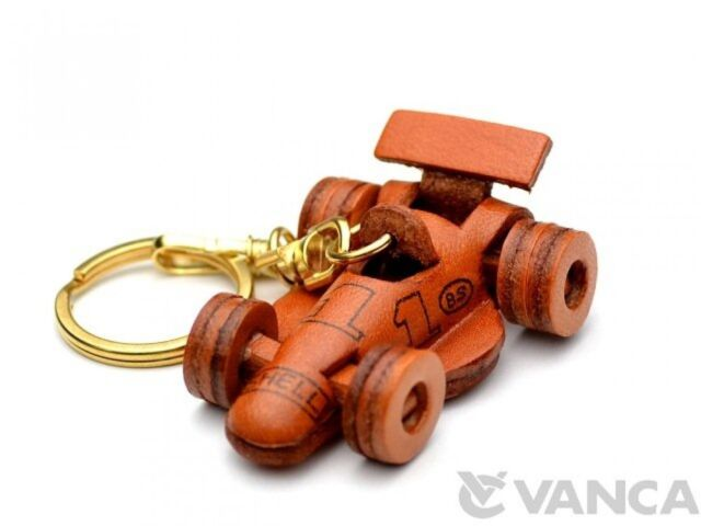 Formula-1/F1/F-1 Racing Car 3D Leather (L) Keychain *VANCA* Made in Japan #56104