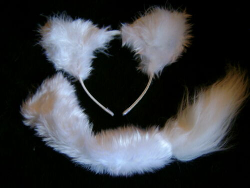 Arctic Fox Ears And Tail Set White Faux Fur Instant Fancy Dress Fox Handmade