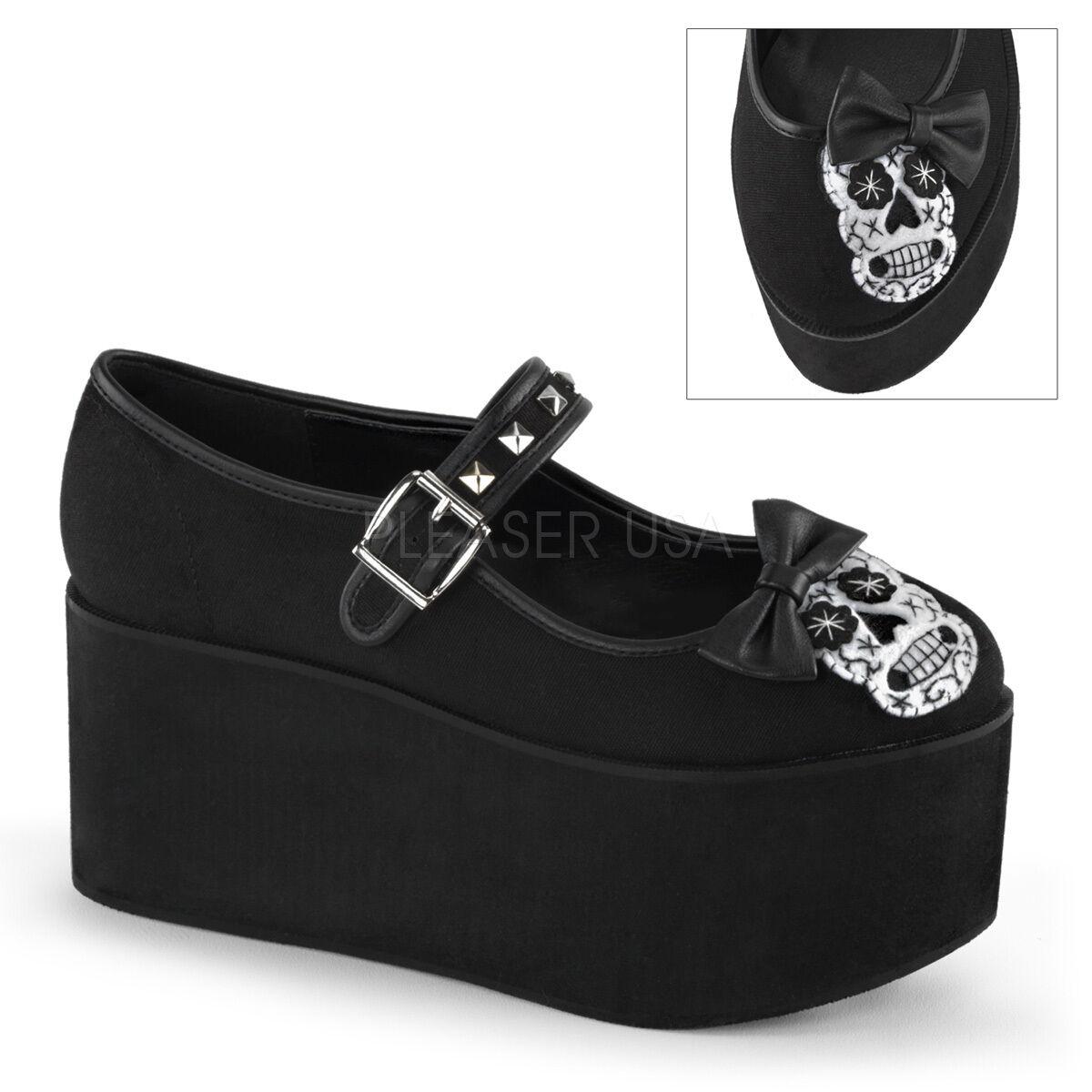 Demonia Click-02-3 Black Canvas Skull Bow Studded  Platform Mary Jane Shoes
