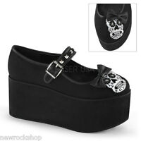 Demonia Click-02-3 Black Canvas Skull Bow Studded Platform Mary Jane Shoes