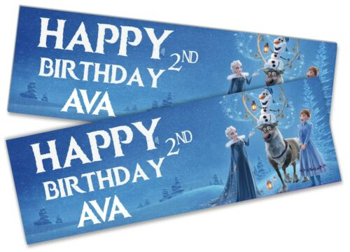x2 Personalised Birthday Banner Frozen Children Kids Party Decoration Poster