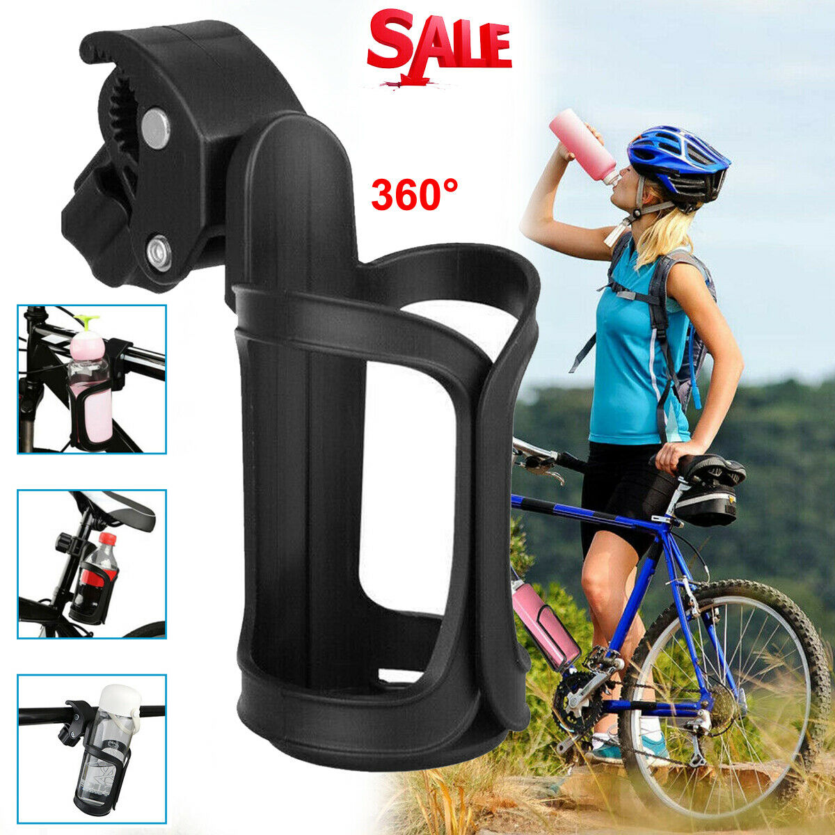 Black Handlebar Drink//Beverage Container for Walker//Cruiser//Exercise//Mountain Bike Vihir Bike Water Bottle Holder Bag for Adult Bicycle Coffee Cup Holders with Phone Storage