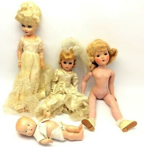 Mixed-Vintage-Lot-Used-Various-Plastic-Blinking-Blonde-Wedding-Dress-Doll-Lot