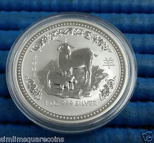 2003-Australia-1-oz-999-Fine-Silver-Coin-A-1-Lunar-Year-of-the-Goat-Series-1